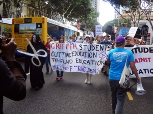 Brisbane students rally against the Federal Government's proposed university funding cuts. Photo: Gavin Coote