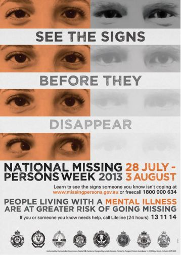 Poster for this years missing persons week.