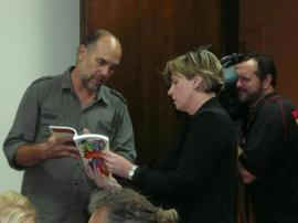 Aidan speaking with Prime7's Christine Tondorf about his book, 'The Activist's Handbook'. Source: aidanricketts.com