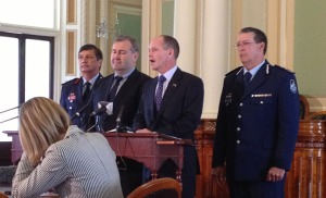 QFRS Commissioner Lee Johnson, Police Minister Jack Dempsey, Premier Campbell Newman and QPS Commissioner Ian Stewart (L to R)