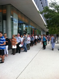 Hundreds of people line up to tour the ABC's South Bank studios.