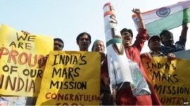 Celebrations for the launch of Mars Orbiter Mission. Photo: BBC
