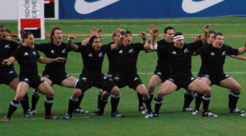 The traditional Ka Mate Haka being performed before a rugby game. Photo: Wikipedia