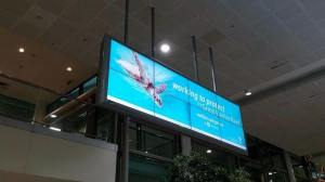Qld Government's Reef Facts Billboard at Brisbane Airport. Photo: Tanya Sinh.