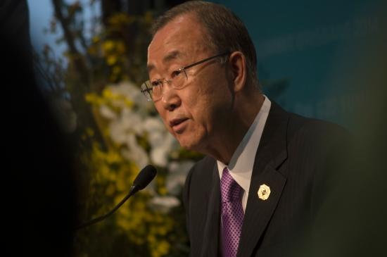 United States Secretary General Ban Ki-moon address media on day one of G20 summit weekend. Photo: Janelsa Ouma.