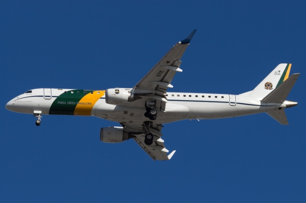 Brazilian Air Force' Embraer E190 jet that arrived last week. Photo: Tim Hillier