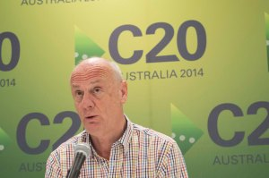 Tim Costello at World Vision Headquarters in Brisbane early today Photo: Cory Wright