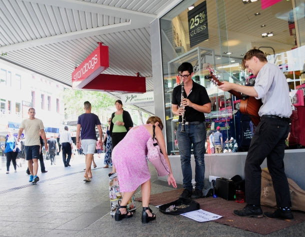 Band Henry James plays in the Queen Street Mall. Photo credit Janelsa Ouma
