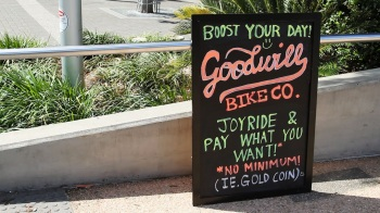 Goodwill Bike Co. chalk sign   Photo: Dan Carson
