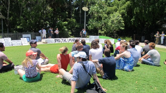 The G20 Free Market Rally audience on the Liana Lounge Lawn, South Bank.