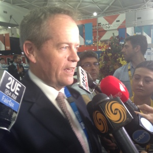 Labor Leader Shorten held an impromptu press conference at the G20 Media Centre. Photo: Tom Mann.