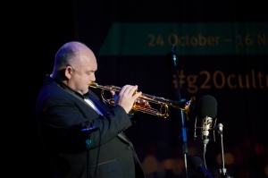 ames Morrison leads the World According to Brass performance as part of the Queensland Music Festival's contribution to the G20 Cultural Celebrations 7 November 2014. Picture: The Source News Janelsa Ouma