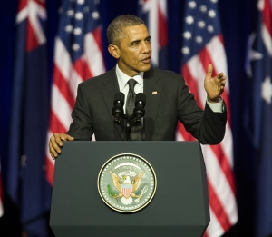 United States President Barack Obama speaks on the role of the United States in the Asia Pacific at the University of Queensland, Brisbane, Australia on November 15, 2014.