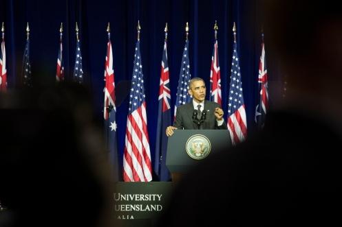 US President Barack Obama speaks at the University of Queensland