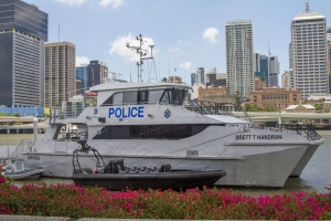 A Police Catamaran Situated directly adjacent from the BCEC Photo: Kimberly McCosker