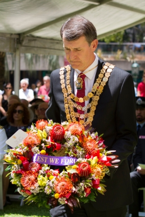 Brisbane's Lord Mayor, Graham Quirk, lays a wreath at the Remembrance Day Ceremony on November 11, 2014 at ANZAC Square, Brisbane, Australia. Photo: Kimberley McCosker
