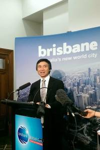 Li Cunxin talking with reporters after his presentation | Image: Rhea Anthony