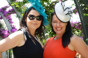 Debbie Youngs and Nicole Conway participate in a fundraiser to raise money for Motor Neuron Disease on Melbourne Cup Day in South Bank November 4 2014. Source News Janelsa Ouma.
