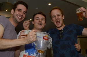 Victory Win: English travellers Ray O'Reilly, Chris Revell and Adrian Walker celebrarte the Melbourne Cup win by  German racehourse Protectionist at the Plough Tavern in South Bank November 4 2014. The Source News Janelsa Ouma