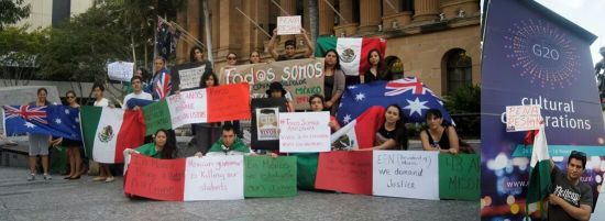 Mexican community protest. Photo: Facebook Australia in action for Ayotzinapa- Brisbane