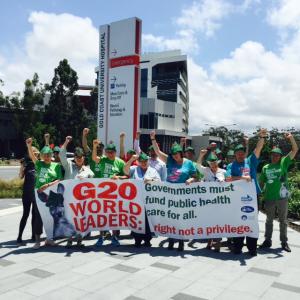Nurses unite in calling for a Robin Hood Tax. Photo:QNU