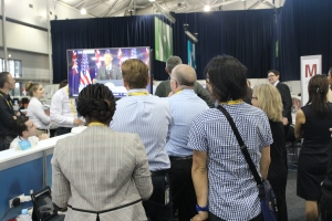 The G20 Media Centre screeched to a standstill. PHOTO: Tom Mann