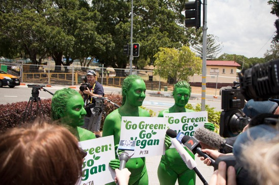PETA protestors surrounded by G20 Media - Picture by Phillip Harsant