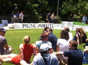 """Free the Market"" protesters listening to former Keating minister, Gary Johns. NOVEMBER 15. Photo: Inge Hansen"