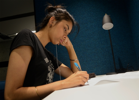 Claudia Reghenzani studies for her final exam at QUT 11 November 2014. Queensland University of Technology has pushed it's calendar forward so staff and students are not incovenienced by the G20 Leaders Summit. Picture: Janelsa Ouma The Source News