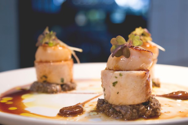 Next Door serves up Free Range Chicken Roulade with Seared Scallops. Photo: Dan Carson