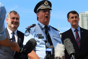 Police Minister Jack Dempsey, Commissioner Ian Steward and Lord Mayor Graham Quirk talk G20 security.
