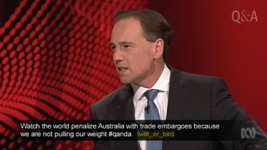 Twitter users condemned Mr Hart during his discussion Source: ABC QandA