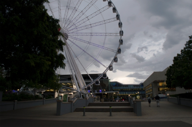 Dark clouds settle over South Bank after a severe storm warning was issued by The Bureau of Meteorology 6 November 2014. The Source News Janelsa Ouma