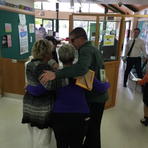 Jayde's family embrace one another after today's press conference. Source: Lacee Buzza