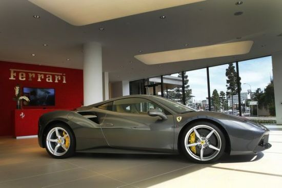 Ferrari Brisbane received a visit from the new Ferrari 488GTB. They will receive their first batch of cars in December. photo: supplied