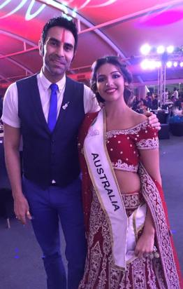 Miss India standing with celebrity choreographer Sandip Soparrkar. Source: Provided