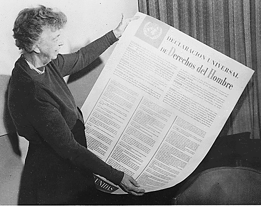 A copy of the Universal Human Rights Charter. Queensland may soon implement state legislation concerning human rights.