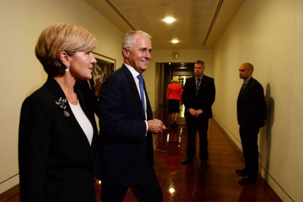 Malcolm Turnbull (Right) and Julie Bishop leave the leadership ballot victorious on Monday night. Source: ABC/AAP