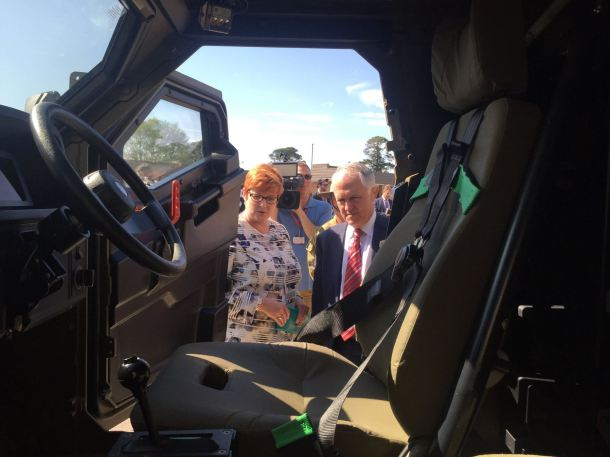 Senator Payne & Prime Minister Turnbull inspecting new defence materiel. Source: Facebook