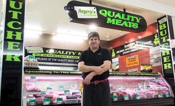 Gavin Argrey a butcher of Argery's Quality Meats stands in front of his Springwood shop. Source: Janelsa Ouma