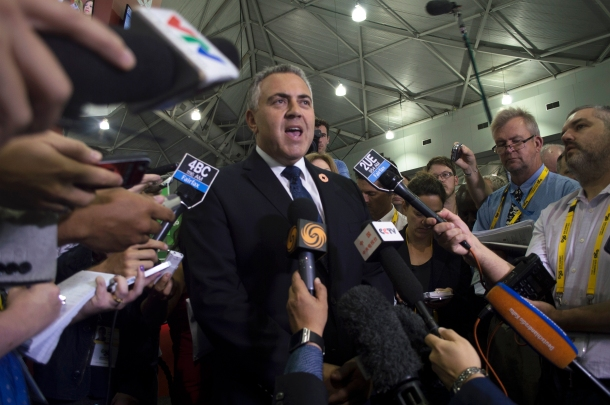 Former Australian Federal Treasurer Joe Hockey addresses a media conference ahead of the Brisbane G20 Summit at the Convention and Exhibition Centre 13 November 2014. Source: Janelsa Ouma