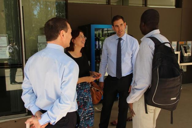 Labor MP's Jim Chalmers, Amanda Rishworth and Graham Perrett spoke with students at Griffith University on Wednesday. Source: Mitchell Watt