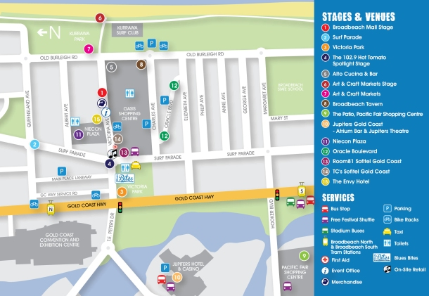 Map of the site with many stages spread over Broadbeach.Source: Supplied