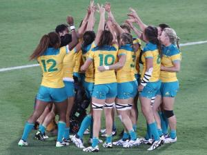 Australian Women's Rugby Sevens team together following their Olympic triumph. Photo: Fox Sports