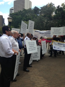 Queensland taxi industry protest outside parliament house last week in Brisbane. Photo: Jamie Murray
