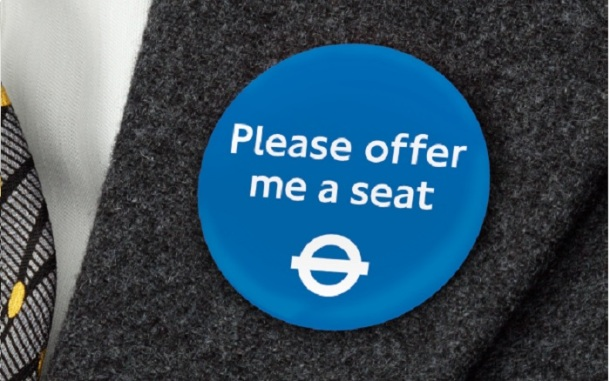 This badge is being trialled in London for people with invisible disabilities. Source: TFL