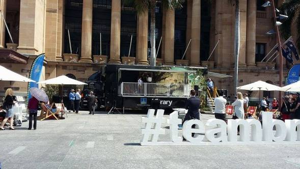 The library opening in King George Square. Photo: Elizabeth Andal