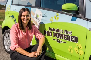 QUU's Michelle Cull with Australia's first poo-powered car_2