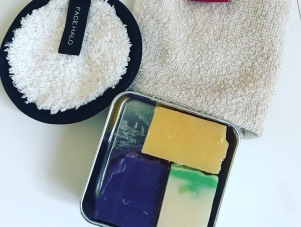 Kim's post-show bathroom essentials including a shampoo bar.