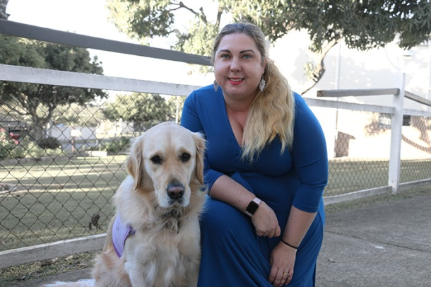 Dr Nicole Grant and Darcy the therapy dog